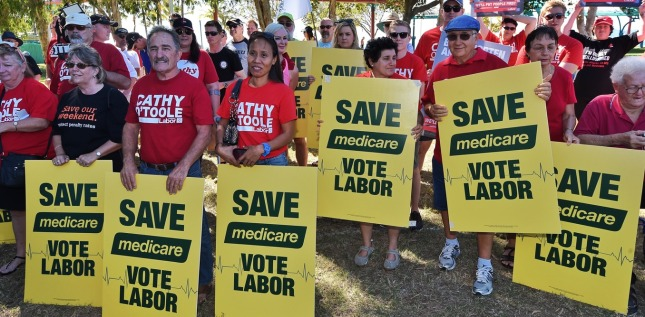 Labor supporters at a Medicare Rally as part of the 2016 election campaign in Townsville, Saturday, June 25, 2016. Shorten addressed supporters at a local Townsville park, telling them a win in next week's federal election is possible. ((AAP Image/Mick Tsikas) NO ARCHIVING
